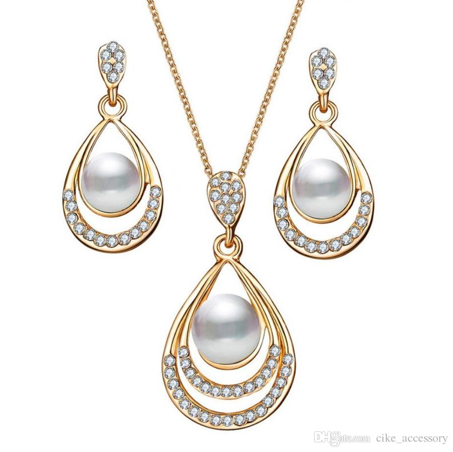82849aeae 2019 Jewelry Sets Eerring Necklace Plastic Pearl Zinc Alloy Accessory With  Crystal Diamond Pendant Gold Silver Plated Metal Chain From Cike_accessory,  ...
