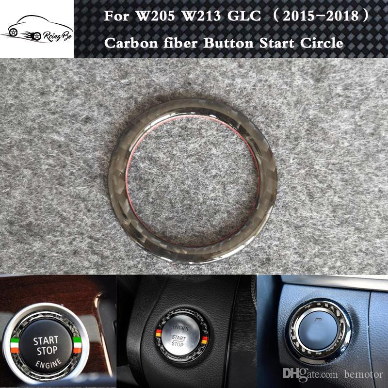 Carbon fiber Accessories Button Start Stickers For Benz W205 C Class C180  C200 GLC260