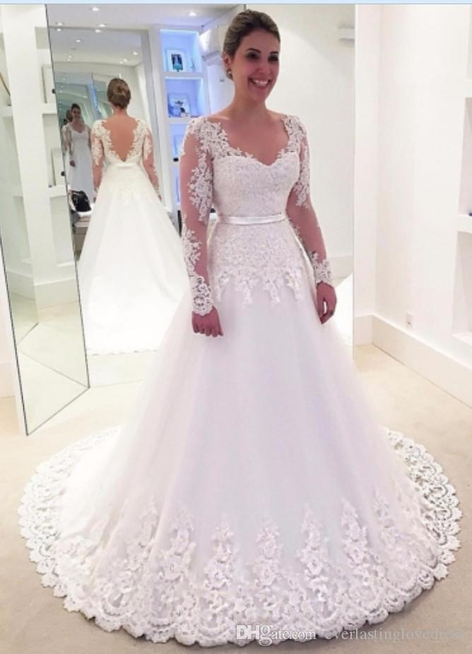 Discount Backless Appliques A Line Wedding Dresses With Long Sleeves ...