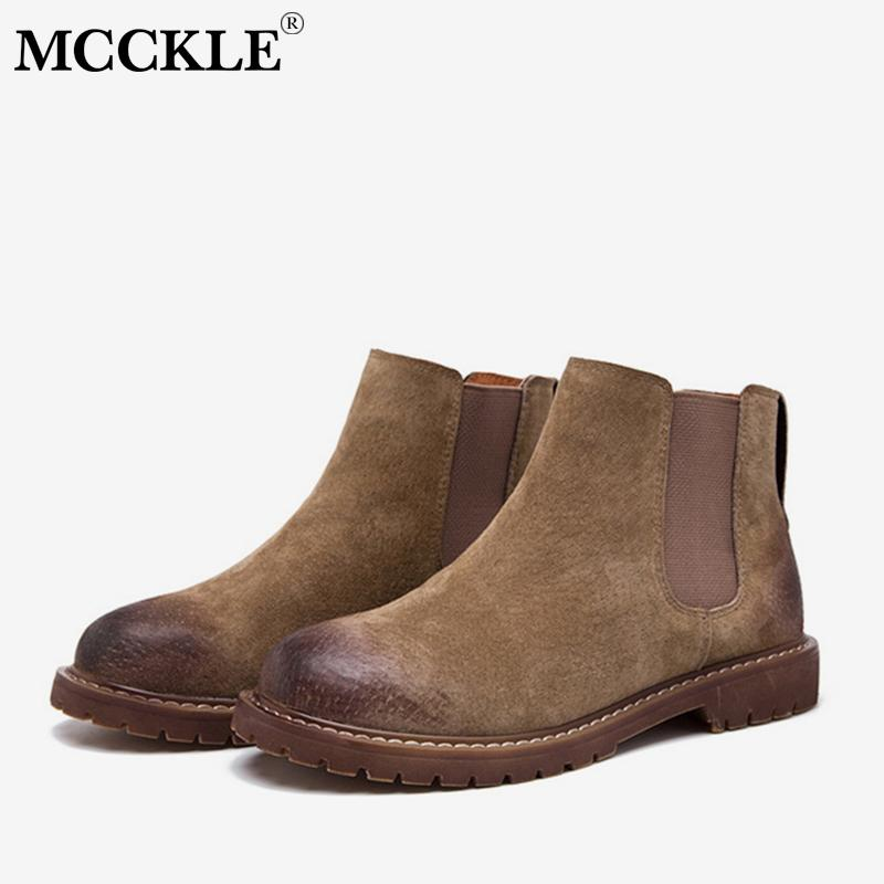 MCCKLE Autumn Women Low Heel Ankle Boots Elastci Band Faux Suede Short Boot  Retro Style Platform Female Slip On Casual Shoes Ankle Boots Cheap Ankle  Boots ... 36bf142eec