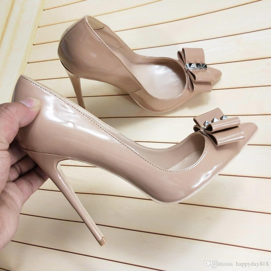 0bac942a89 Free shipping fashion women pumps Nude patent leather bow point toe high  heels shoes Stiletto heeled pumps real photo brand new 120mm 100mm