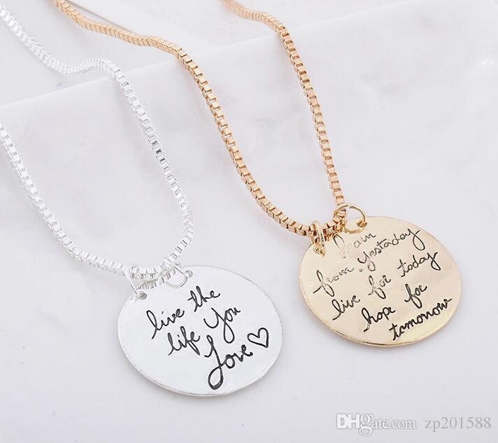 Silvers vintage Aprender de ayer Vivir para hoy Esperanza para mañana Collar de la carta colgante para mujer Accesorios de joyería Regalos Bijoux
