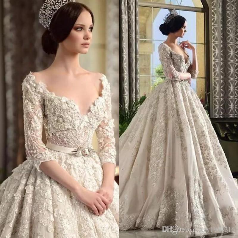 Grosshandel Dubai Arabia Prinzessin Hochzeitskleid Luxus Perlen