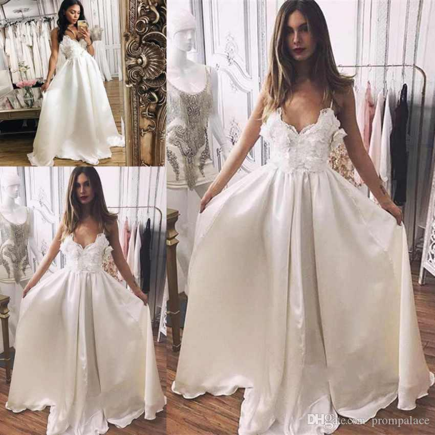 d3a8603de25 Discount Vantage A Line Wedding Dresses Sheer V Neck Lace Appliques Satin  Sexy Sweep Train Bridal Dresses Mermaid Wedding Dress Simple Wedding Dress  From ...