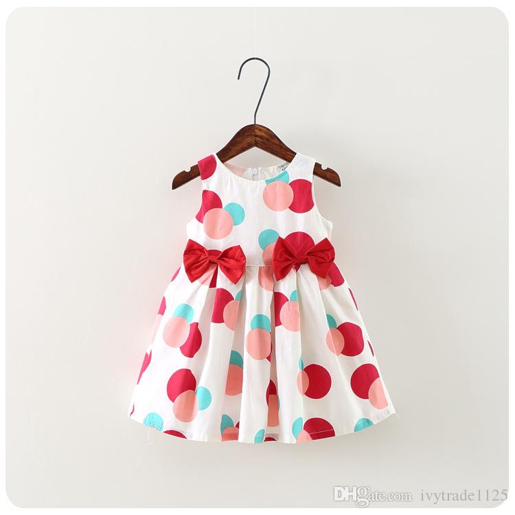 NEW girls dress Kids Sleeveless polka dots print Bow Design boutique dress causal summer girl dresskids clothes high quality