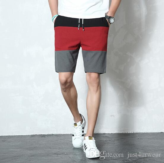 687e2f79f Compre Mens Moda Shorts Patchwork Elástico Na Cintura Calças Curtas Casuais  Verão Em Linha Reta Calções De Praia Ativo Masculino Cor Contraste Na  Altura Do ...