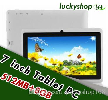 10X 7 inch Capacitive Allwinner A33 Quad Core Android 4 4 dual camera  Tablet PC 8GB RAM 512MB ROM WiFi EPAD Youtube Facebook Google DHL