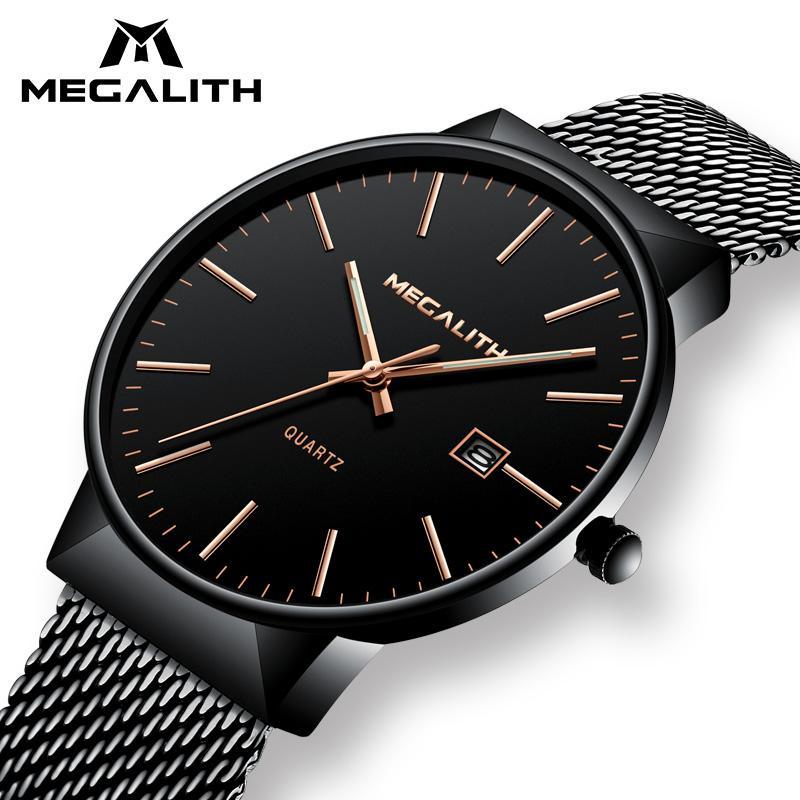 Compre MEGALITH Reloj De Los Hombres De Lujo A Prueba De Agua Fecha  Calendario Relojes Para Hombre Reloj De Cuarzo De Malla De Acero Inoxidable  Negro ... edf17fd03bc8