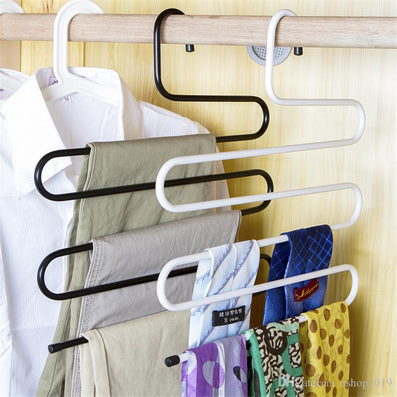 S-type Pants Rack Metal Trousers Hanger Clothing Store Multiple Layers Storage Pants Rack Closet Belt Holder Rack