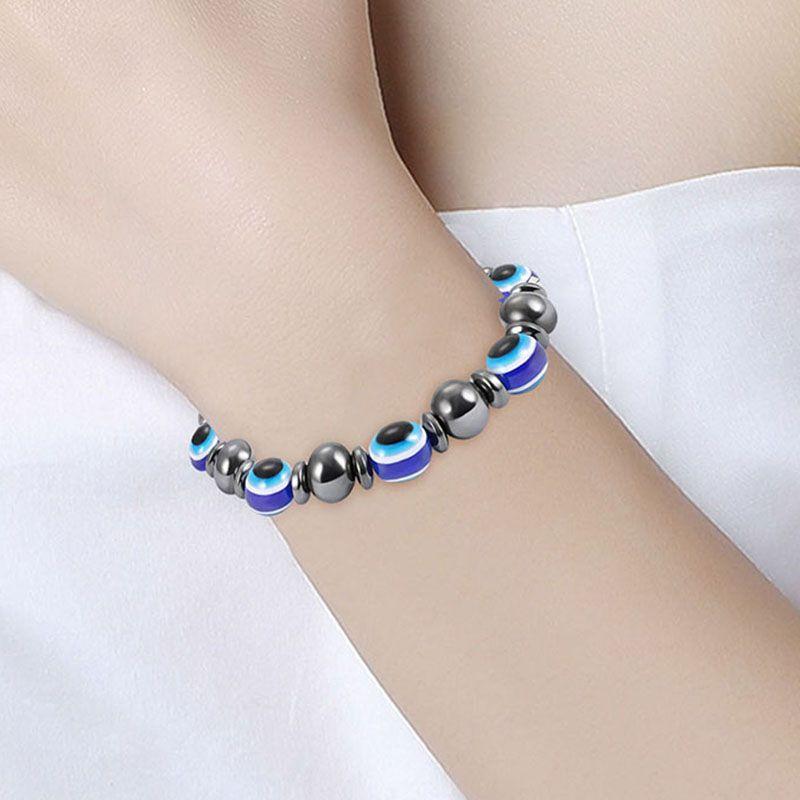 magnetic Black gallstone Elastic bracelet Fashion Resin Blue Evil Eye stone Bracelets for Women Beads Chain Jewelry Gifts drop ship 320140