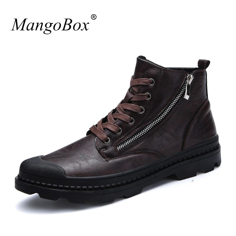 Mens Leather Winter Boots Hot Sale Mens Snow Boots Casual Non Slip Mens  Walking Shoes With Fur Comfortable Men s Footwear Warm Ankle Booties Combat  Boots ... d906762ad9ac