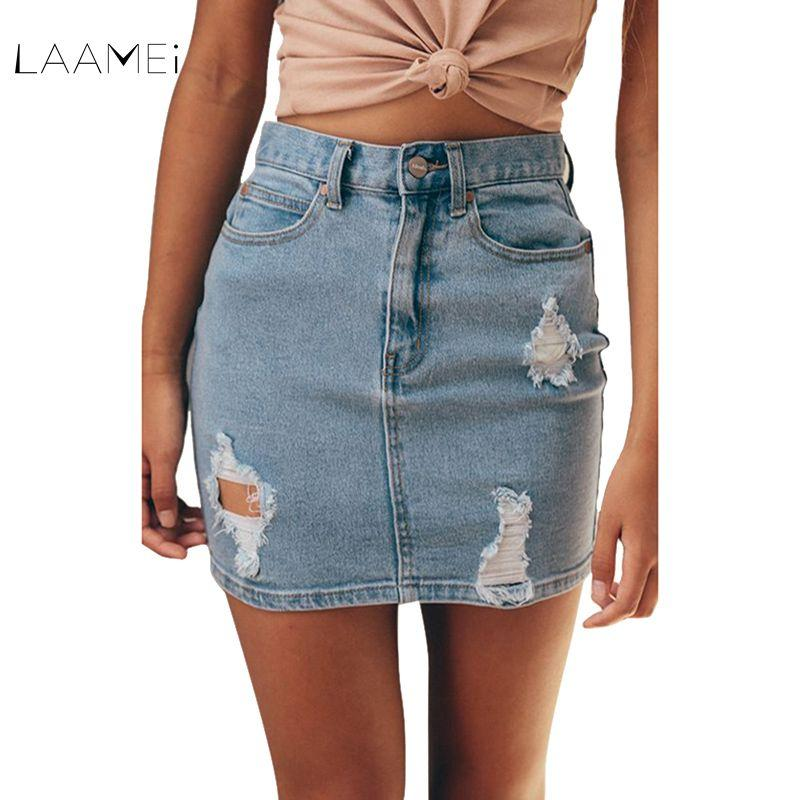 62dedf086ca2 Laamei Sexy Skirts Women 2018 New Denim Skirts Short Summer High ...