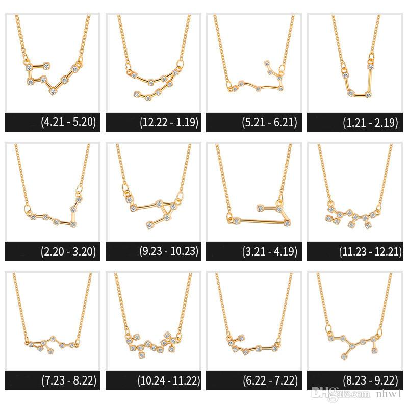 Fashion Crystal 12 Constellation Pendant Necklaces for Women Ladies Zircon Chain Necklace Jewelry Valentine's Day Gift