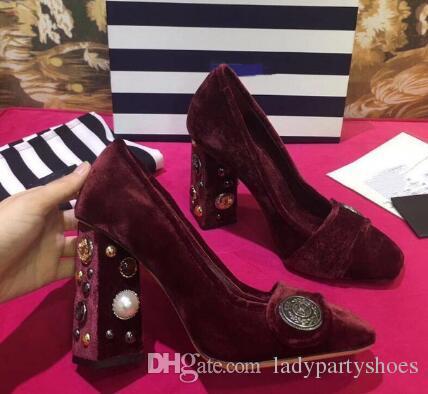 2018 Sweet Hot Noir / Bourgogne / Violet Flock Pumps Chaussures de Stamp Pearl Chunky Heel Shallow Femmes Pompes