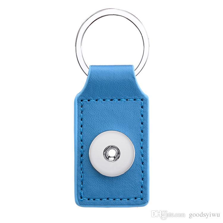 8 renkler kare 18mm Snap Düğmesi Anahtarlıklar noosa PU Deri yapış Anahtarlıklar Snap Düğmesi anahtarlık Anahtar Yüzükler Takı erkekler kadınlar için