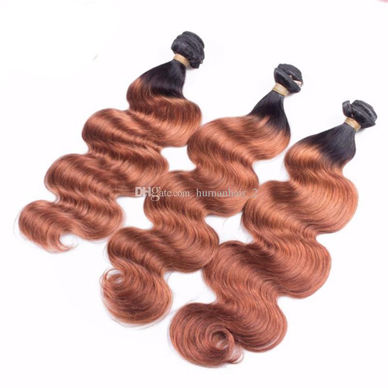O envio gratuito de onda do corpo ombre virgem marrom Indiano 2 tom cabelo humano tecer extensões de trama ombre 1b 33 auburn hair extension 3 pacotes