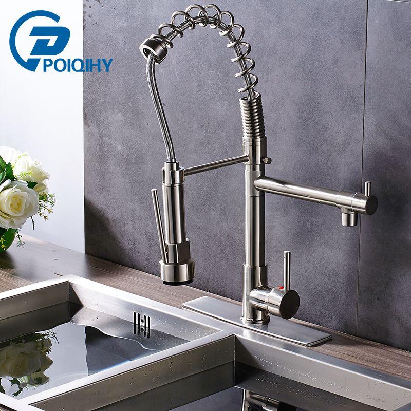 Nickel Pull Down Kitchen Faucet 360 Swivel Handheld Spring Kitchen ...