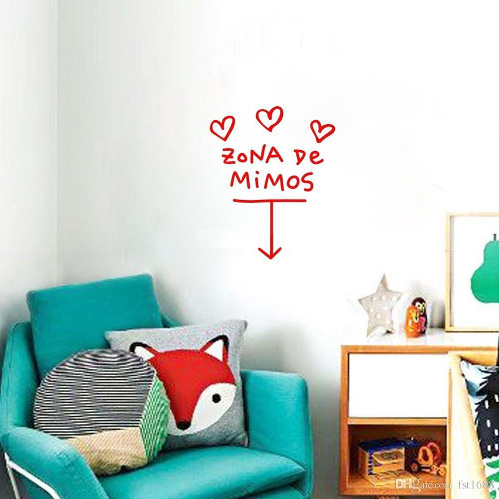 Cartoon Modern Design ZONA De MIMOS Quotes Vinyl Decal Heart Wall Art Stickers Removable Text Living Room Wall Mural Decor