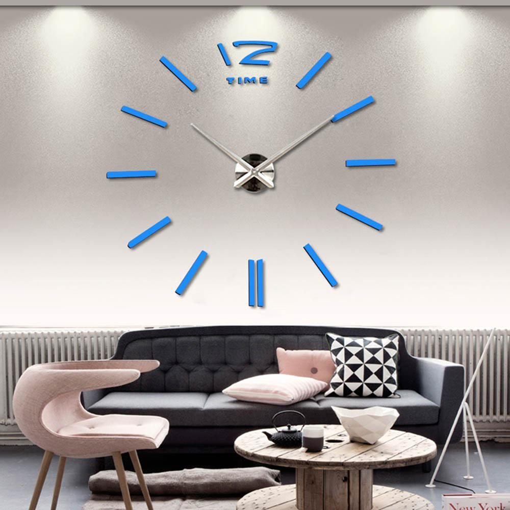 3d Large Wall Clock Rushed Mirror Sticker Diy Living Room Decor Acrylic Self Adhesive Europe Quartz Needle Clocks