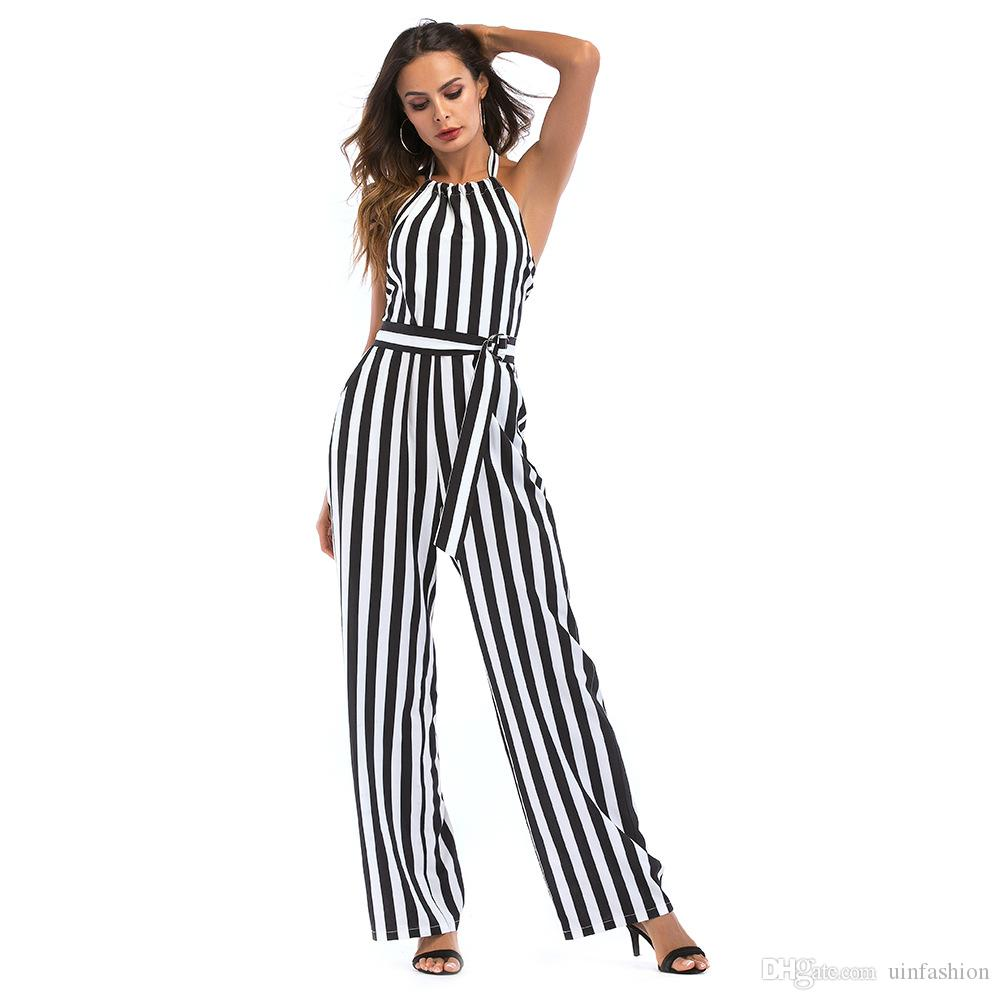 c5b48eb4e1d 2019 Sexy Striped Playsuit Women Jumpsuits Loose Warp High Waist Halter  Long Wide Leg Pants Summer Romper With Sashes From Uinfashion
