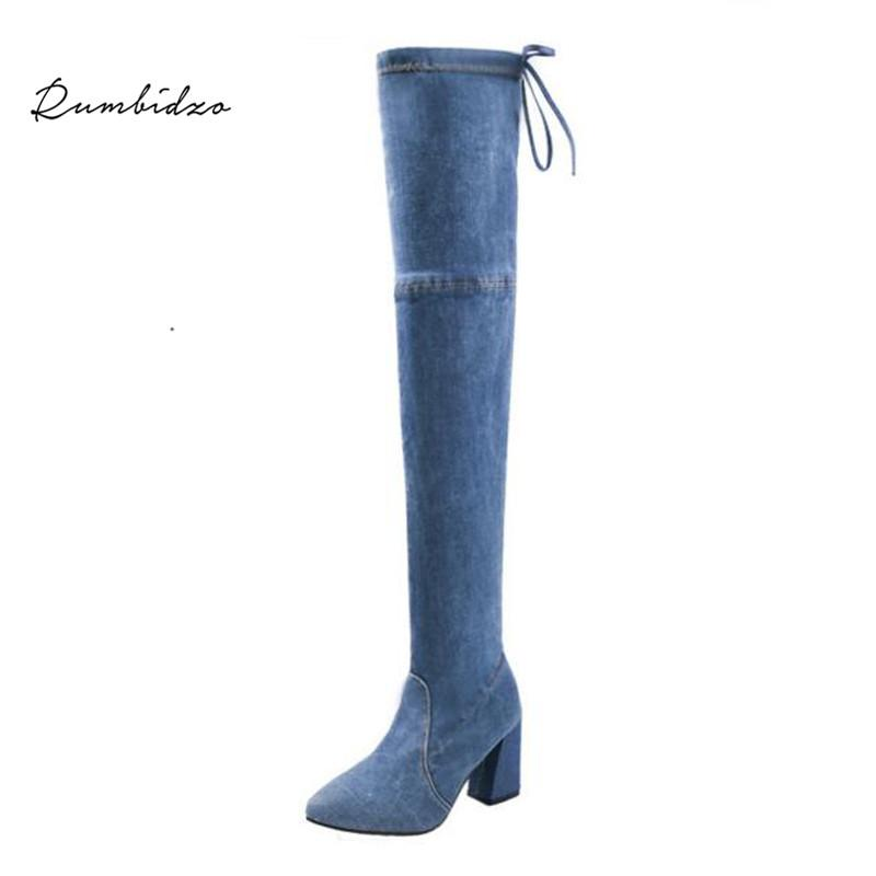c929b356cac Rumbidzo 2018 New Women Boots Blue Jeans Women Over Knee High Boots High  Heels Denim Chunky Heels Lace Up Square Bootie White Boots Black Boots For  Women ...