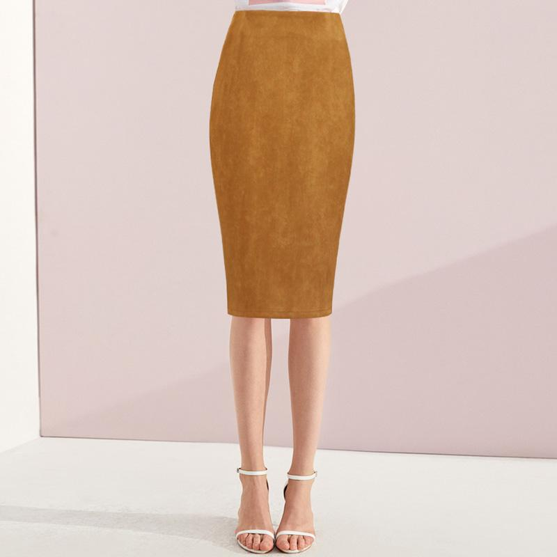 665c006d29f1 2019 Women S High Waist Suede Skirt Pencil Knee Length Leather Suede Skirts  Women Vintage Midi Brown Skirt Khaki Winter Office Wear From Amandal
