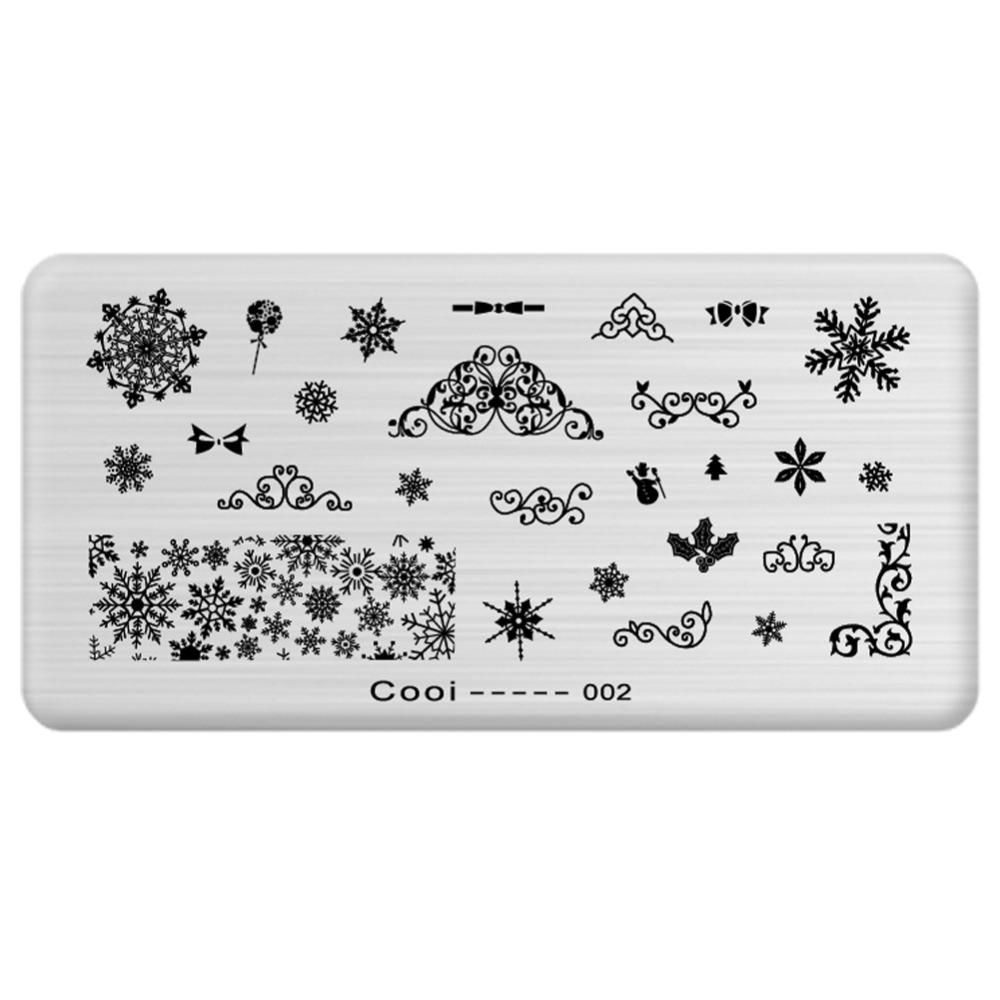 new arrival snowflake patterns nail art templates steel plate 12 5