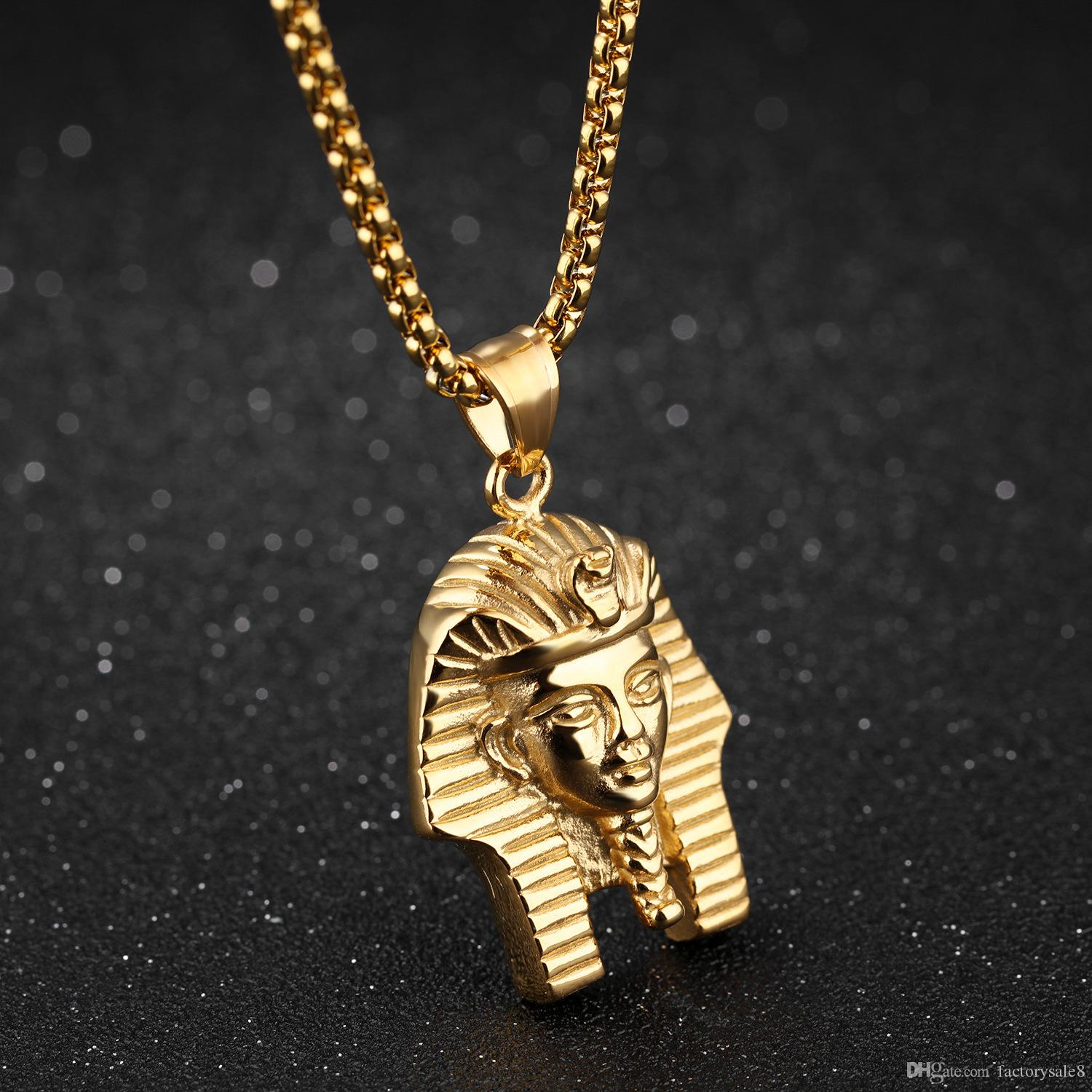 Vintage Retro Men Necklaces Egyptian Pharaoh Pendants Chain Necklace Masquerade Party Stainless Steel Jewelry Birthday Gift for Boyfriend