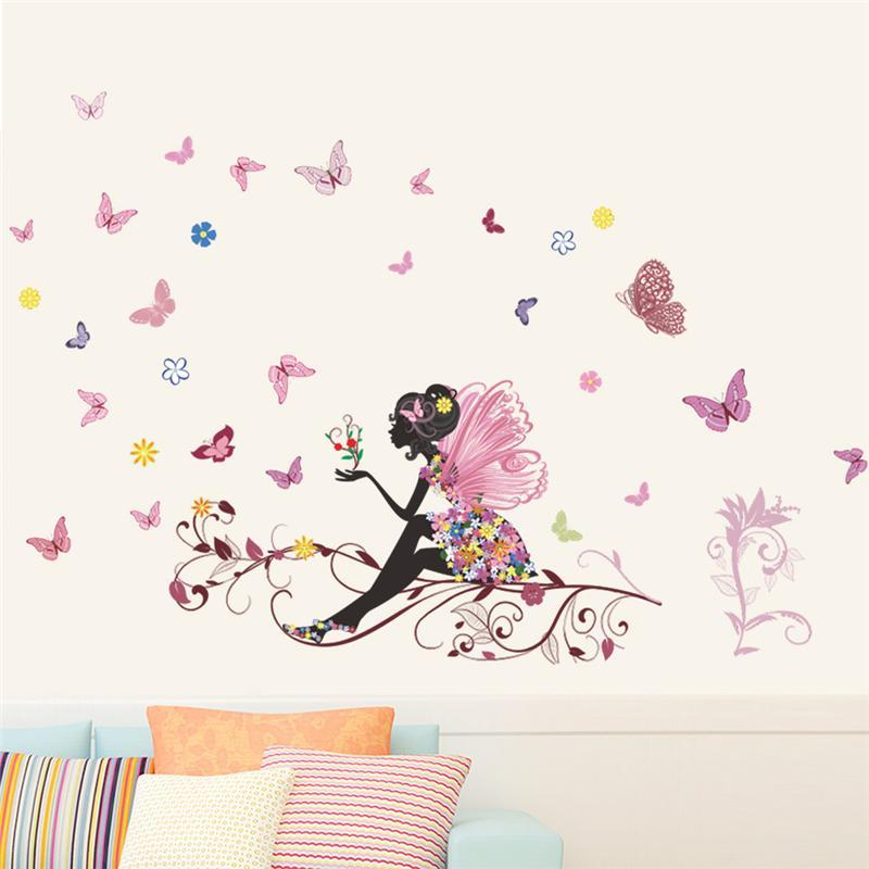 Beautiful Girl Butterfly Flower Art Wall Sticker For Home Decor DIY Personality Mural Child Room Nursery Decoration Print Poster