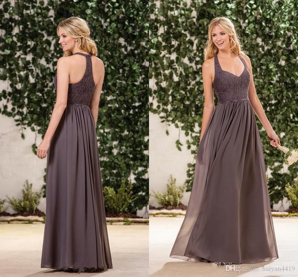 38f4426a98 2018 Cheap Arabic Bridesmaid Dresses Halter Neck Sweetheart Lace Appliques  Chiffon Floor Length Plus Size Maid Of Honor Wedding Guest Dress
