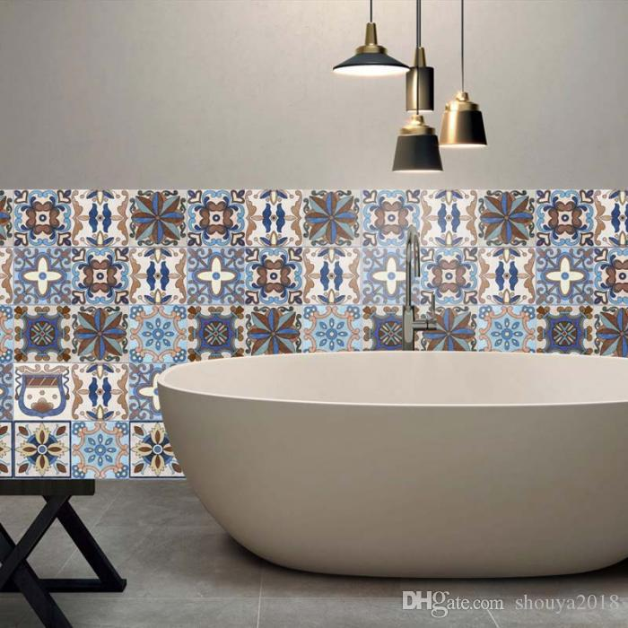 ashion Waterproof Ceramic Tile Sticker Self Adhesive 3D Floor Wall Stickers For Living Room Bedroom Kitchen 20x500CM J2