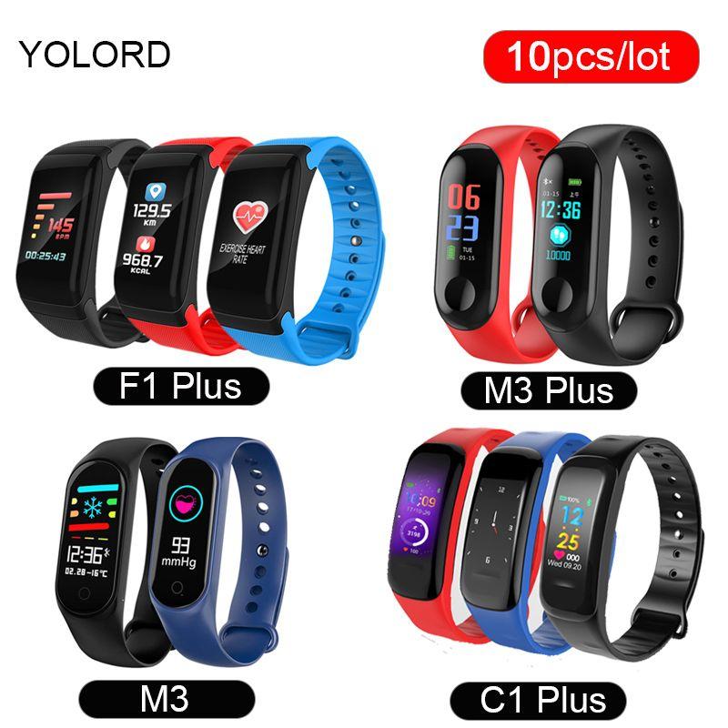 72ba99a615a0 Reloj Inteligente Bluetooth 10 Unids   Lote C1 Plus F1 Plus M3 Varios  Deportes Muñeca Color Banda Inteligente Pulsera Pulsera Smartband Al Por  Mayor Precios ...