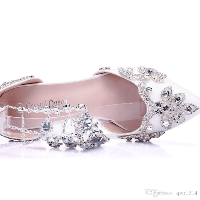 New Summer elegant pointed toe shoes for women crystal chain high heel wedding shoes thick heels Beautiful rhinestone Plus Size Shoes