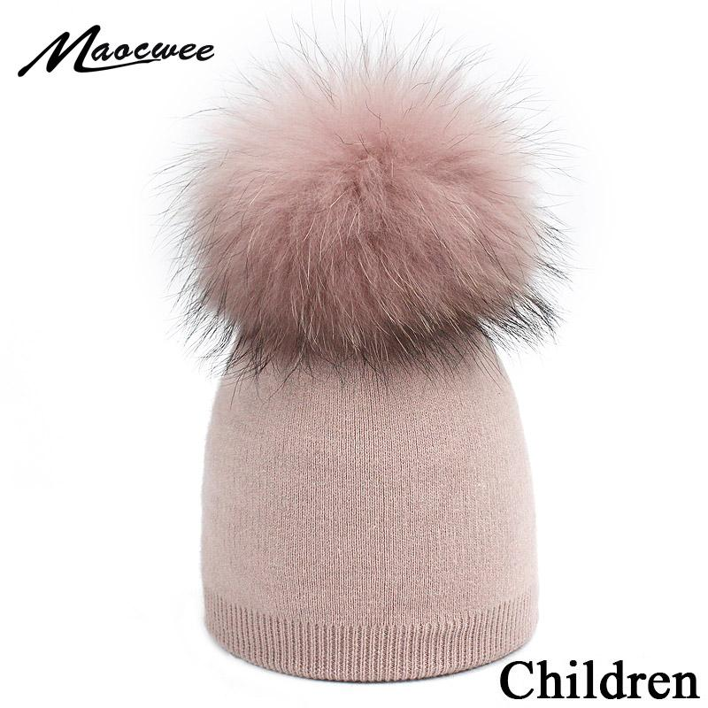 ec5fecaa 2019 Children'S Knit Beanie Hat Dyeing Raccoon Fur Pom Pom Winter Hat Boy  Girl Warm Skullies Bone Brand Kids Baby Soft Cap From Longanguo, $45.77 |  DHgate.