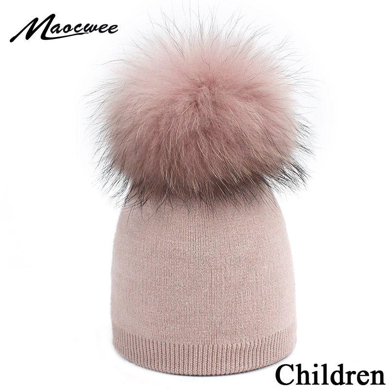 Satın Al çocuk örgü Bere şapka Boyama Rakun Kürk Pom Pom Kış şapka