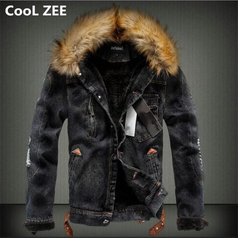553ab429ff28 Großhandel CooL ZEE 2018 Herren Jeansjacke Mit Pelzkragen Retro Ripped  Fleece Jeans Jacke Und Mantel Für Herbst Winter S XXXXL Von Longan08,   58.72 Auf De.