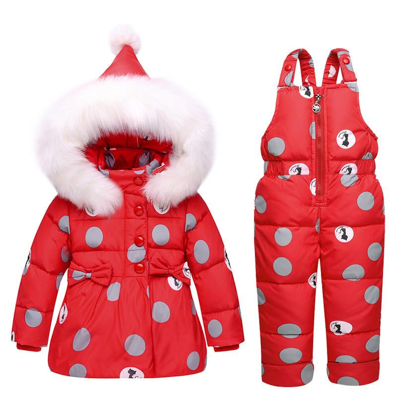 a5b25a56ea4 New Infant Baby Snowsuit Down Cute Toddler Girls Winter Outfits Snow Wear  Jumpsuit Polka Dot Hoodies Jacket Girls Down Jacket With Hood Goose Down  Coats For ...