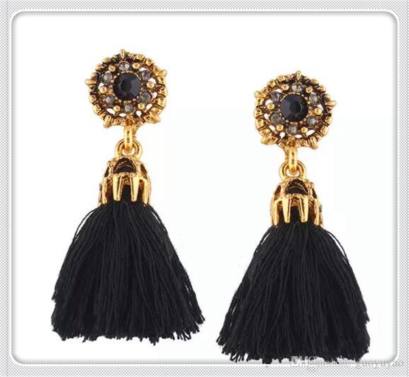 2018New Designs Long Tassel Earrings Women Fashionestseller Leather Tassels Dangle Earrings With Rhinestone Drop Earring Drop