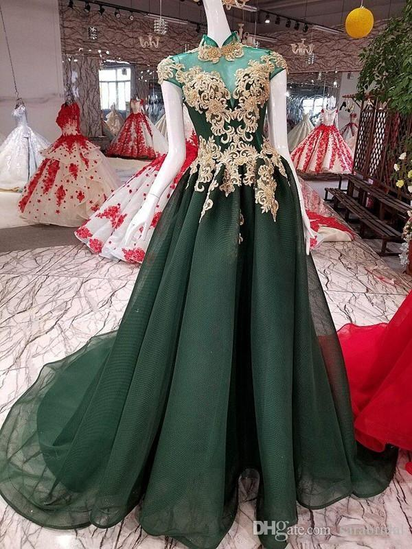 Real Picture Emerald Green Gold Prom Dresses Short Sleeve