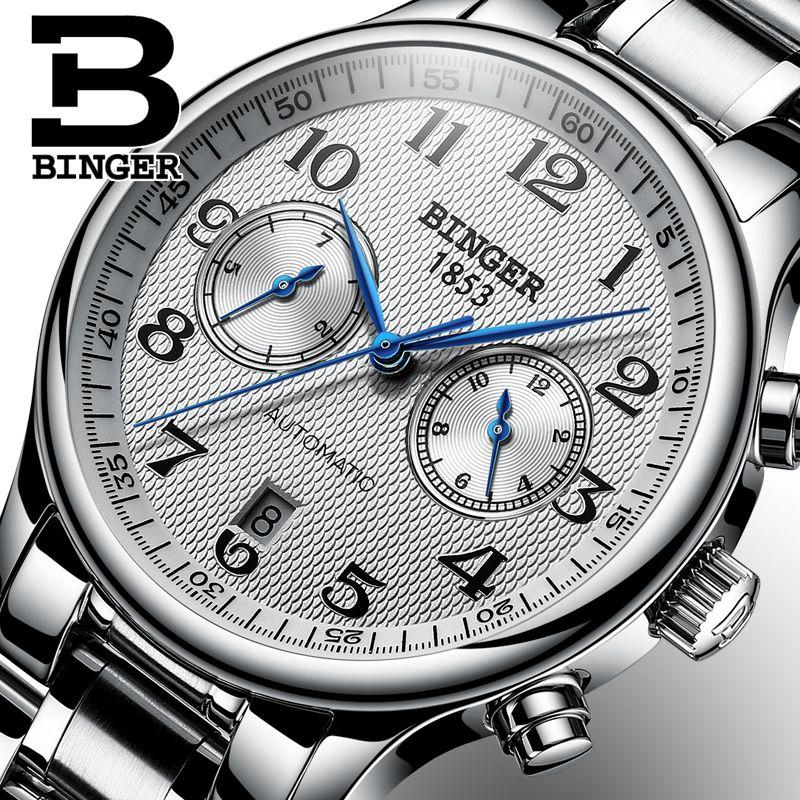 e0b8a27442c Compre Suíça Binger Relógios De Luxo Da Marca Dos Homens Relogio Relógio À Prova  D  Água Masculina Mecânica Automática Dos Homens Relógio De Safira B 603 51  ...