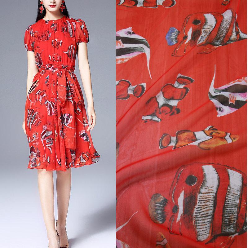 Großhandel 1 Meter Rot Farbe Fisch Gedruckt Thin Chiffon Stoff Weich Für  Kleid Diy Tuch Sommerkleid Kleidung Tissu Au Meter Von Nanafabric,  18.1  Auf De. b165c5a10b