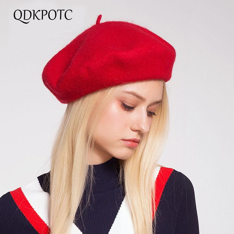 QDKPOTC Autumn Winter Women s Beret Hat Fashion Solid Color Warm Wool Berets  For Women French Artist Beanie Beret Hats For Girls UK 2019 From Buete 7e9604935