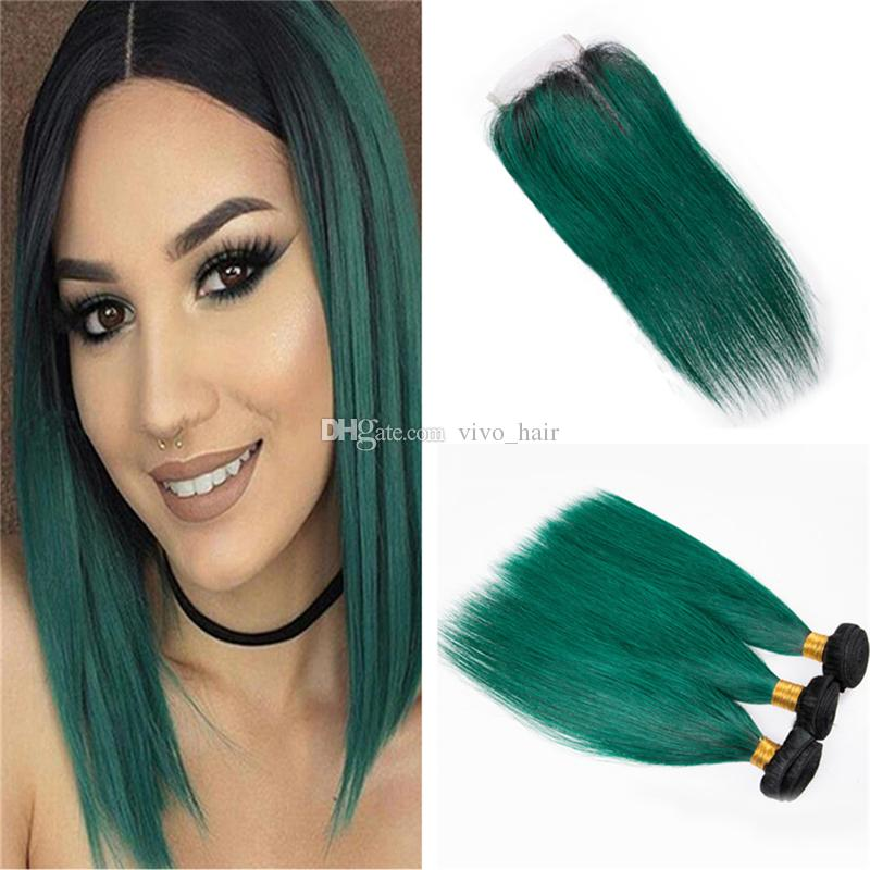 Dark Roots 1b Green Ombre Malaysian Hair Bundles With Lace Closure