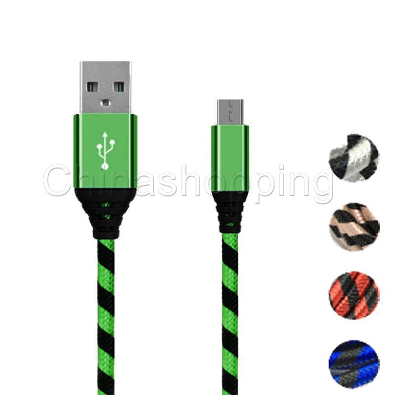الشحن بسرعة عالية الجودة 0.25M 1M 2M 3M مايكرو USB شاحن كابل بيانات جديلة الحبل كابل
