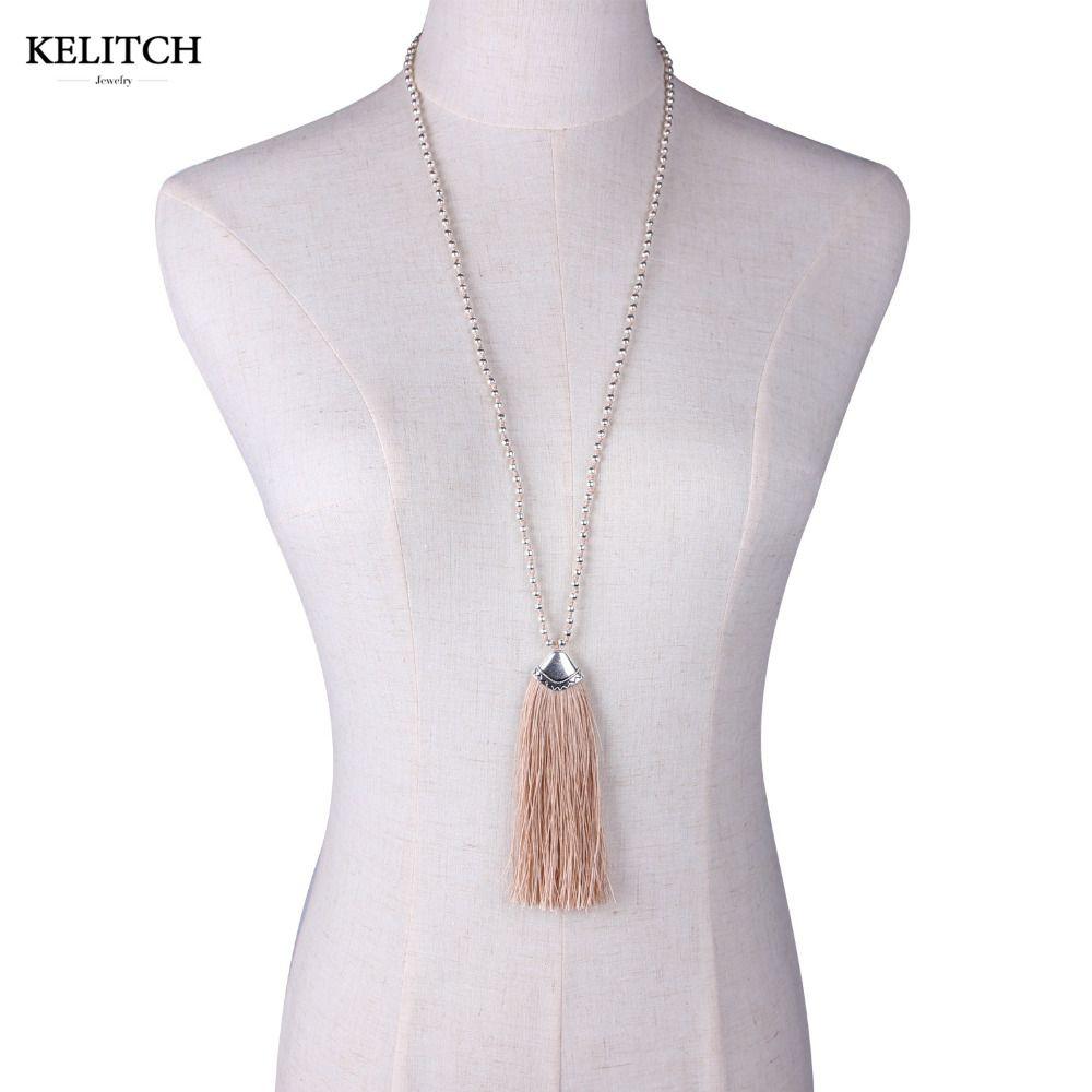 KELITCH Jewelry Friendship Bohemian Tassel Pendants Necklace Fashion Women Maxi Handmade Chain Bead Necklaces Fashion Packs