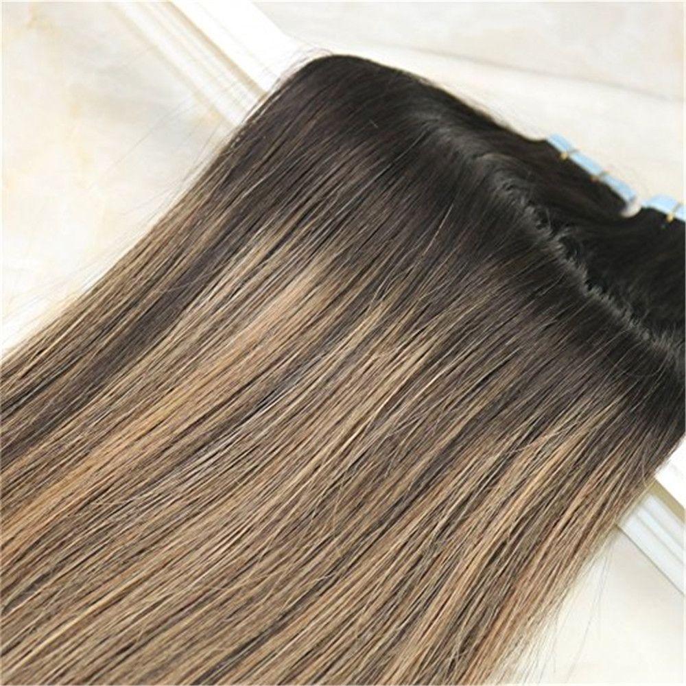 Cinta de Remy en Balayage pelo extensiones de cabello humano del color oscuro Marrón Fading a marrón claro Unprocessd extensiones del cabello humano sin soldadura 100g