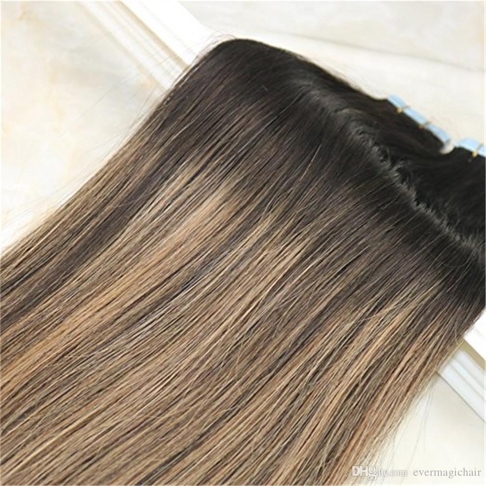 연한 갈색 Unprocessd 인간의 머리 확장 원활한 100g 에 헤어 확장 인간의 머리 Balayage 색상 다크 브라운 페이딩에서 레미 테이프