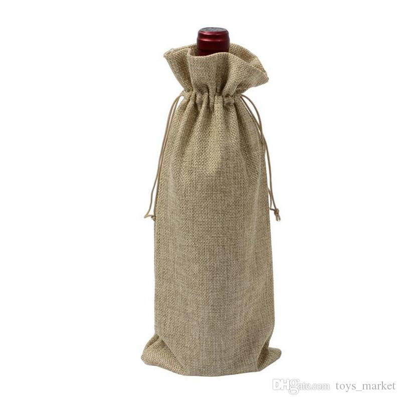 "Champagne Wine Bottle Covers Wine Bottle Bags Drawstring Pouch 15cmx35cm6""x14"" Gift Bag Wedding Festivals Decoration Jute"