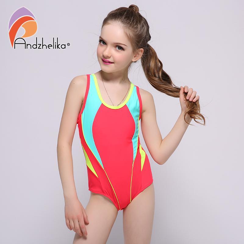 d99c3f7e870a1 2019 Andzhelika 2017 New Children s Swimwear One Piece Solid Patchwork  Bodysuit Children Beachwear Sports Swim Suit Bathing Suit From Vanilla04