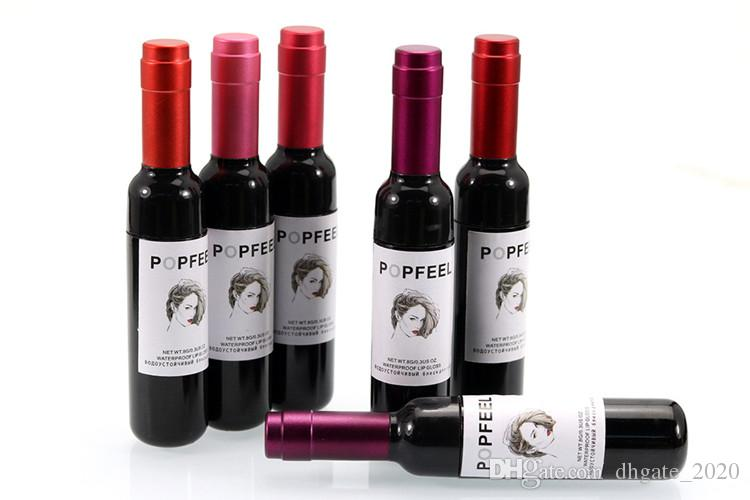 Popfeel Brillo de labios Lápiz labial Botella de vino rojo Lápiz labial Mate Brillo de labios es Nueva marca de maquillaje Liqiud Lápiz labial Impermeable